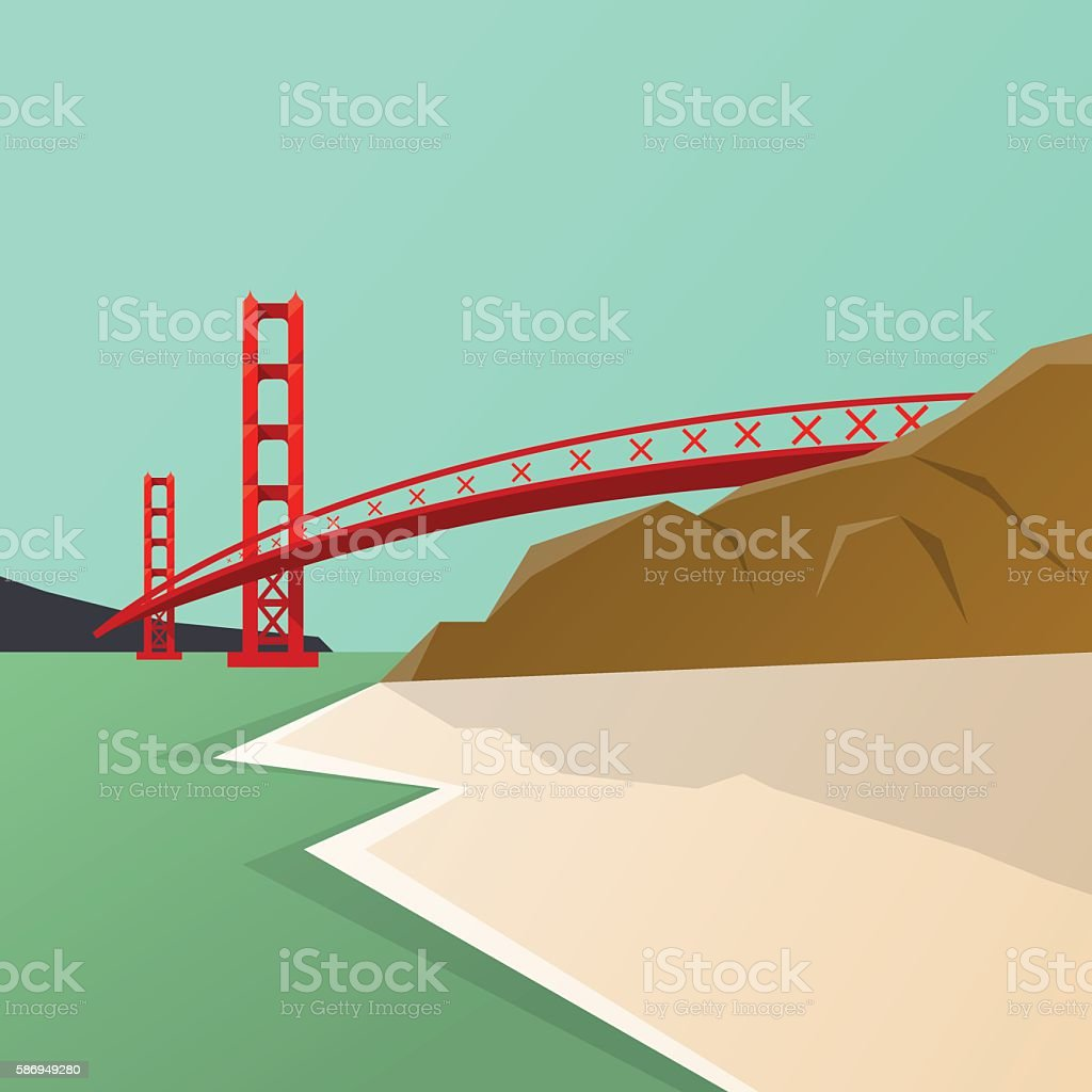America travel attraction  . Golden Gate Bridge backg vector art illustration