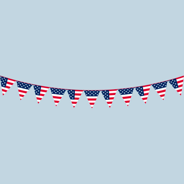 america triangle flag garlands - memorial day stock illustrations