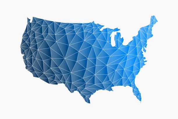 美國三角網地圖。向量徽標插圖 - 國家名勝 幅插畫檔、美工圖案、卡通及圖標