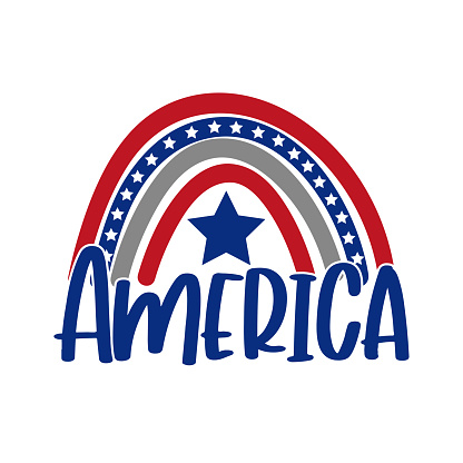 America typography with rainbow and stars. Happy Independence Day, design illustration.