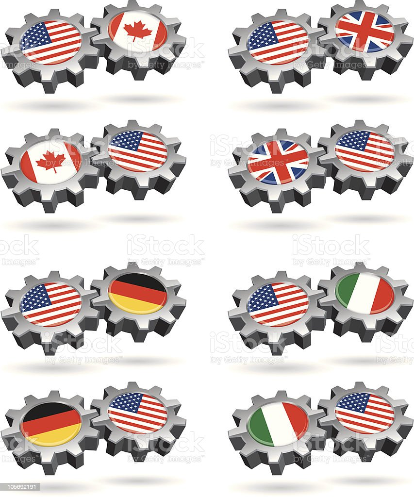 America Works With Canada, Britain, Germany, and Italy royalty-free stock vector art