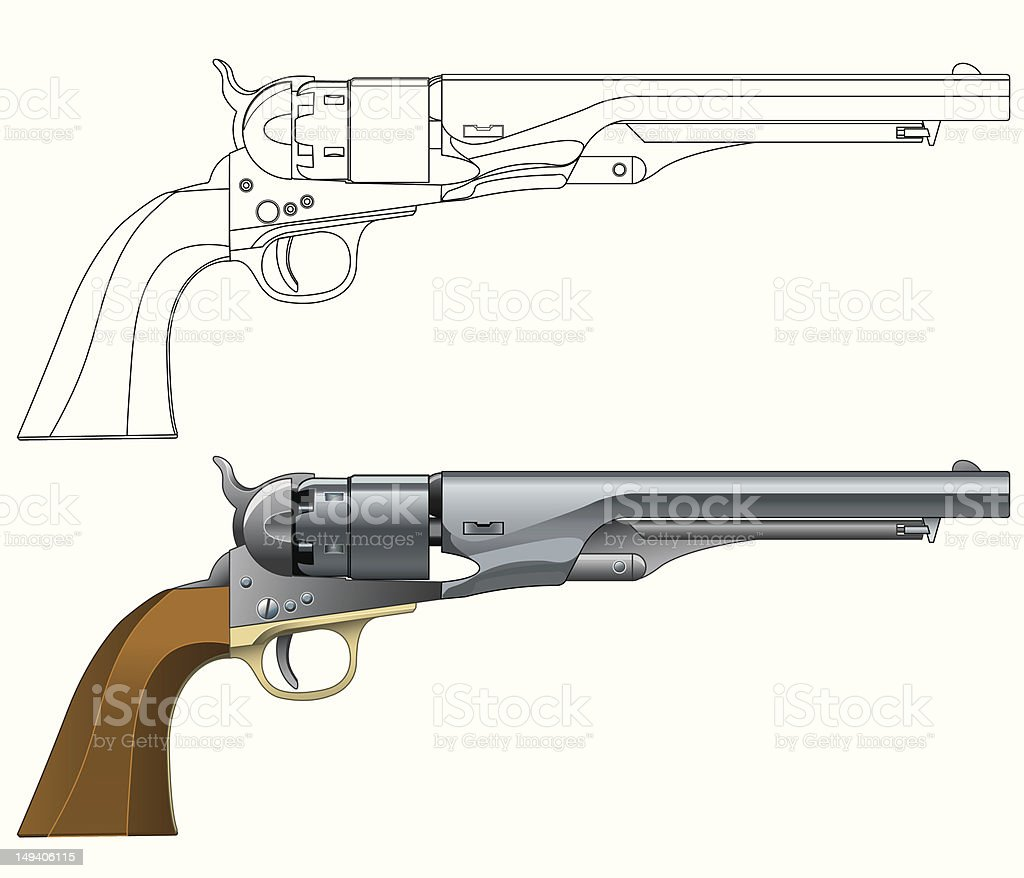 American 1860 Army Revolver vector art illustration