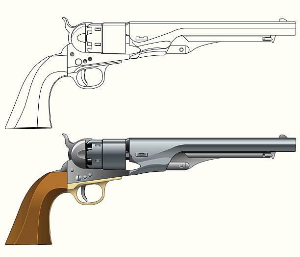American 1860 Army Revolver vector art illustration