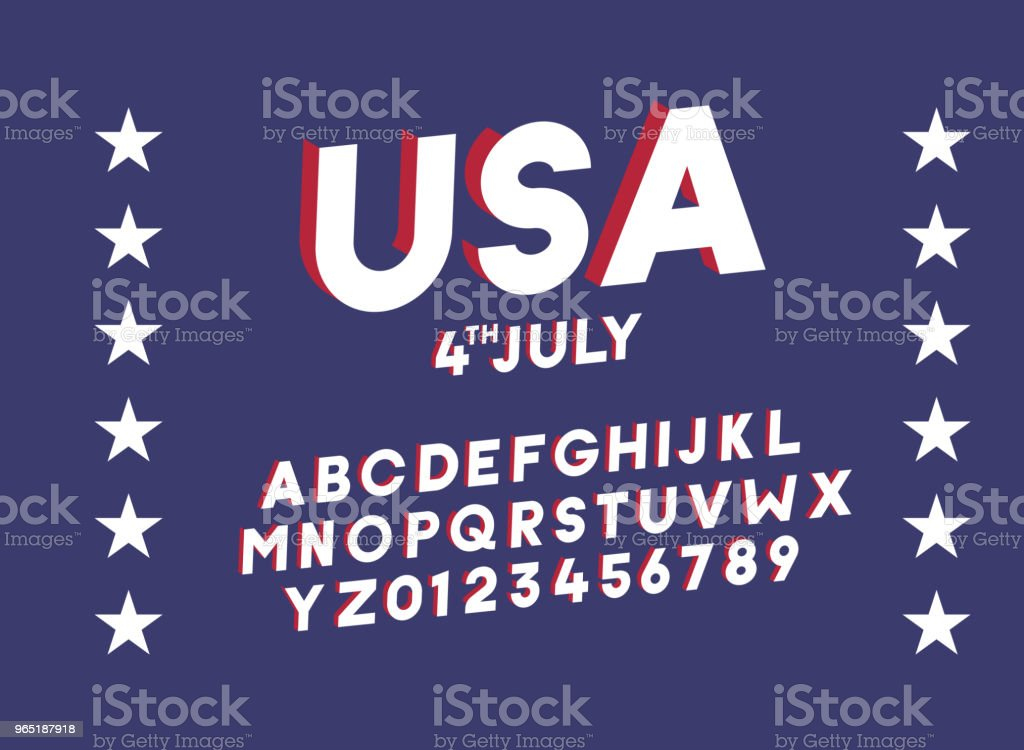 American 3d block alphabet. Vector font for united states of america related concepts - 4th july, veterans day, memorial day. Web banners, posters, titles and headlines, merchandise. royalty-free american 3d block alphabet vector font for united states of america related concepts 4th july veterans day memorial day web banners posters titles and headlines merchandise stock vector art & more images of alphabet