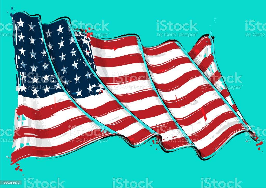 American 48 Star Artistic Brush Stroke Waving Flag vector art illustration