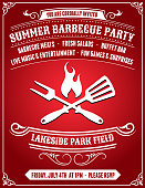 Royalty free vector 4th of July Barbecue Party invitation card with Sun Background. The festive summer party card is yellow and tan in color. The standard postcard size invitation is 100% editable vector art and has party invitation text. Icon download includes vector art and jpg file. on Red Background