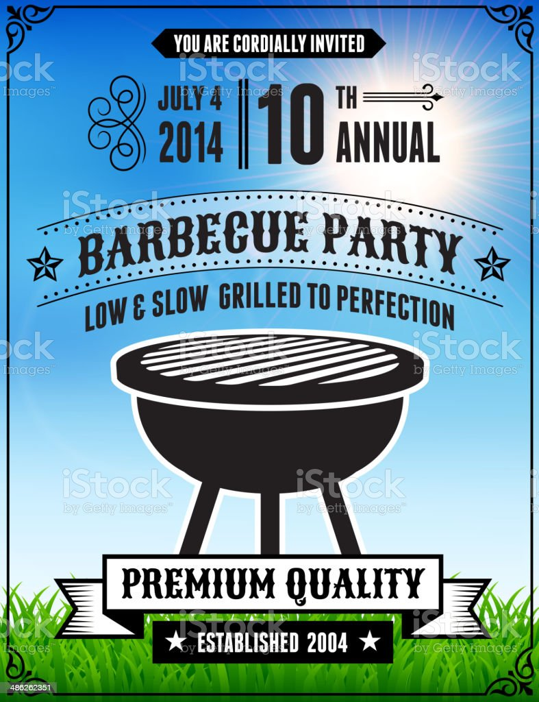 American 4th of July Barbecue Party vector art illustration