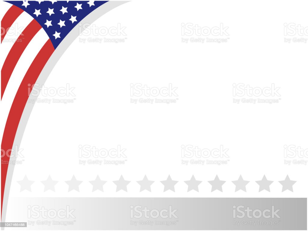 American abstract flag Patriotic corner frame. vector art illustration