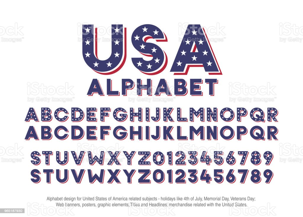 American alphabet with usa flag colors and star shapes. Vector font for united states of america related concepts - 4th july, veterans day, memorial day. Web banners, posters, titles and headlines, merchandise. american alphabet with usa flag colors and star shapes vector font for united states of america related concepts 4th july veterans day memorial day web banners posters titles and headlines merchandise - stockowe grafiki wektorowe i więcej obrazów 4-go lipca royalty-free