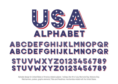 American alphabet with usa flag colors and star shapes. Vector font for united states of america related concepts - 4th july, veterans day, memorial day. Web banners, posters, titles and headlines, merchandise.
