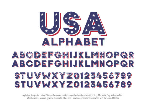 American alphabet with usa flag colors and star shapes. Vector font for united states of america related concepts - 4th july, veterans day, memorial day. Web banners, posters, titles and headlines, merchandise. Vector eps10 patriotic stock illustrations