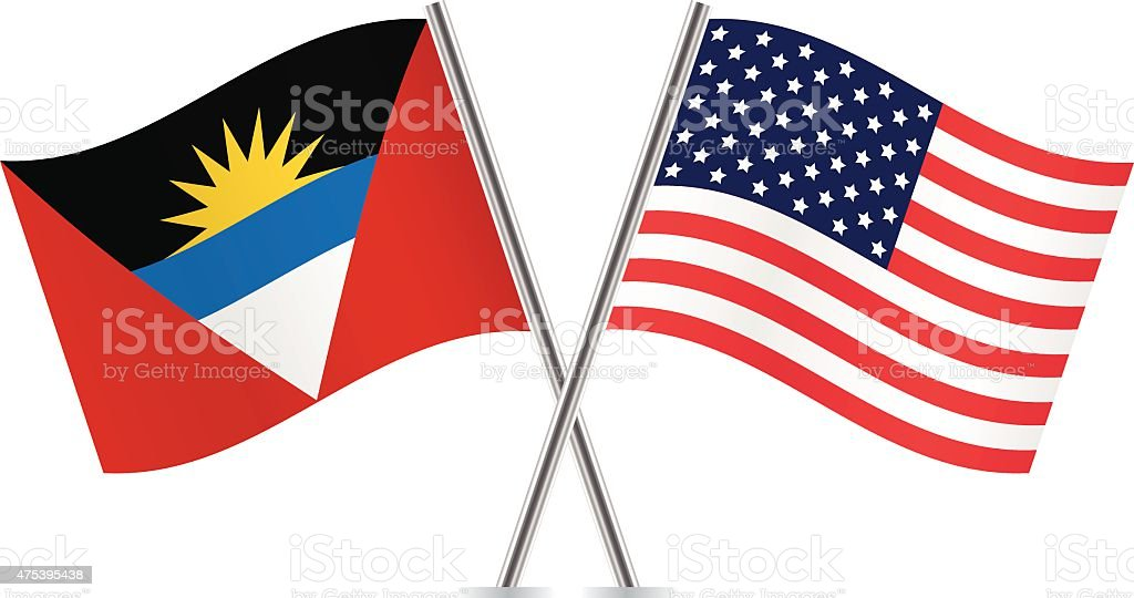 American and Antigua and Barbuda flags. Vector. vector art illustration