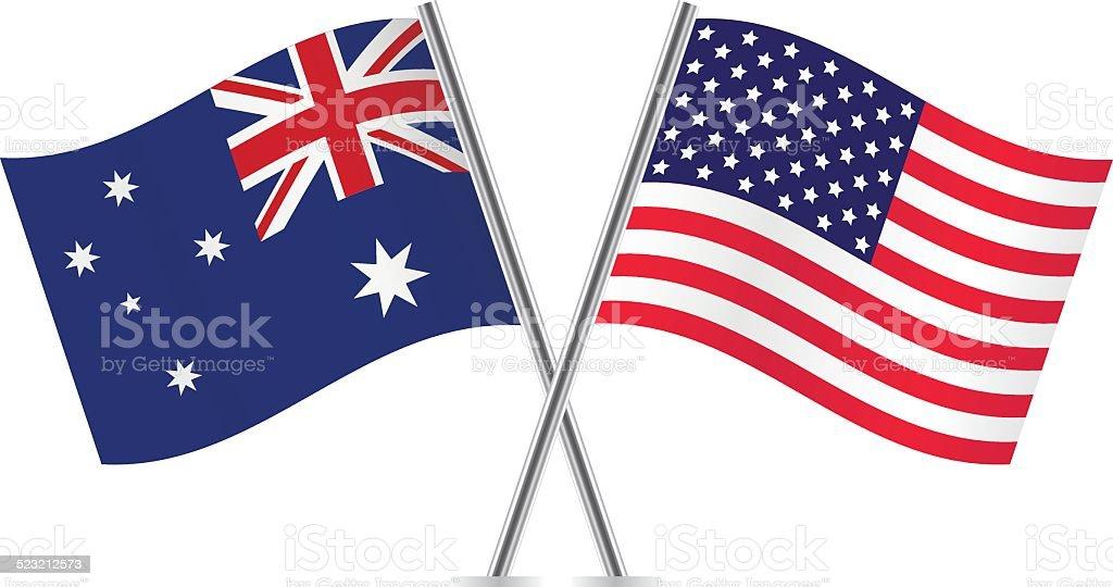 American and Australian flags. Vector. vector art illustration