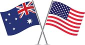 American and Australian flags. Vector.