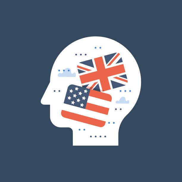 amerikanische und britische flaggen, lernen englisch, bildungsprogramm, internationaler studentenaustausch - englischlernende stock-grafiken, -clipart, -cartoons und -symbole
