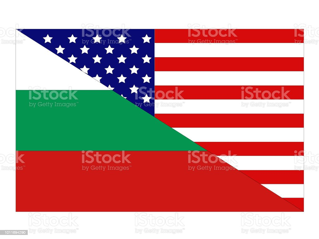 American and Bulgarian flags vector art illustration