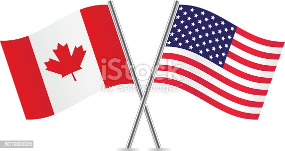 istock American and Canadian flags. 501960003