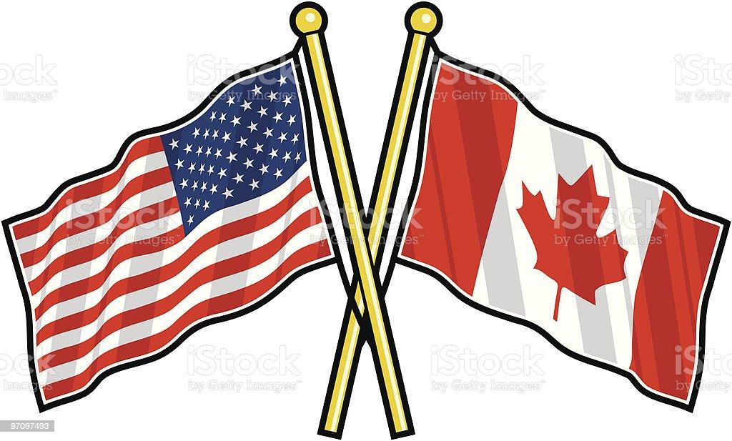 Amerikanische und kanadische Freundschaft Flagge – Vektorgrafik