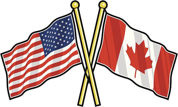 amerikanische und kanadische freundschaft flagge - flagge kanada stock-grafiken, -clipart, -cartoons und -symbole