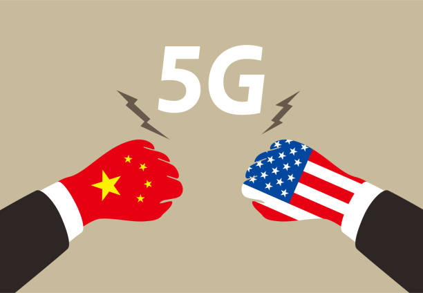 American and China business fighting for 5G ,  vector illustration vector art illustration