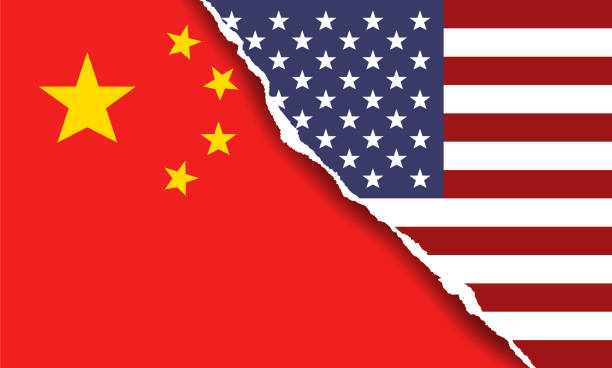 American and Chinese flag symbols. Vector illustration of American and Chinese flag symbols. The concept of trade war and relationships. trade war stock illustrations