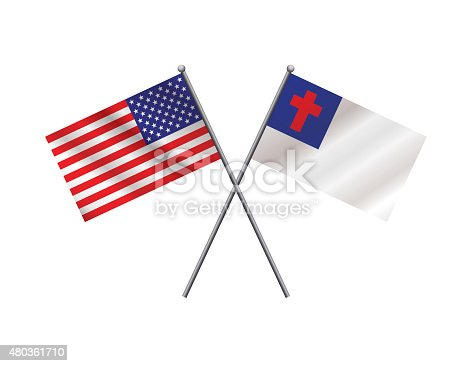 istock American and Christian Flags Illustration 480361710