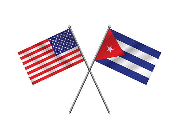 Estadounidenses y cubanos Flags medio - ilustración de arte vectorial
