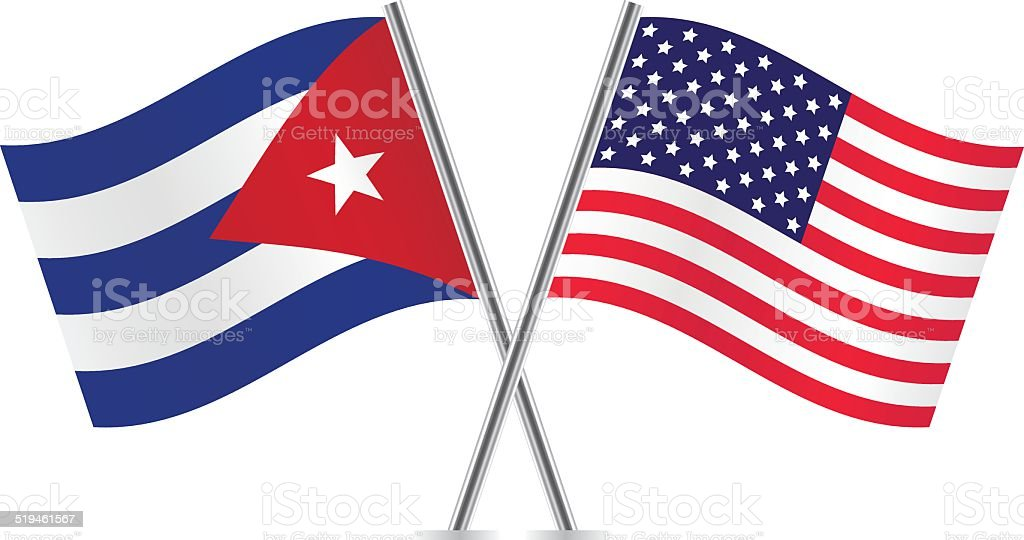American and Cuban flags. Vector. vector art illustration