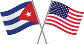 American and Cuban flags. Vector.