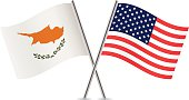 American and Cyprus flags. Vector.
