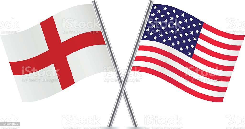 American and English flags. Vector. vector art illustration
