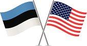 American and Estonian flags. Vector.