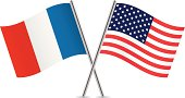 American and French flags. Vector illustration.