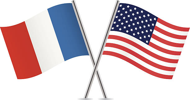 American and French flags. vector art illustration