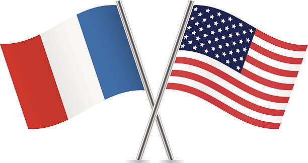 ilustraciones, imágenes clip art, dibujos animados e iconos de stock de banderas de la cocina estadounidense y francesa. - bandera francesa