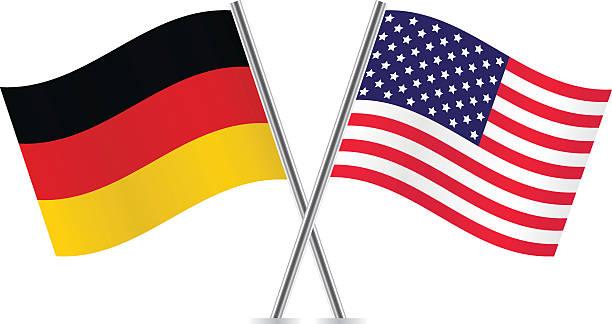 ilustraciones, imágenes clip art, dibujos animados e iconos de stock de american flags y alemán. - bandera alemana
