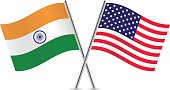 American and Indian flags. Vector.