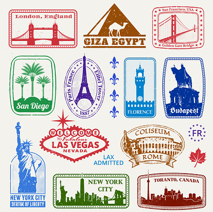 American and International Famous Travel Destinations Set
