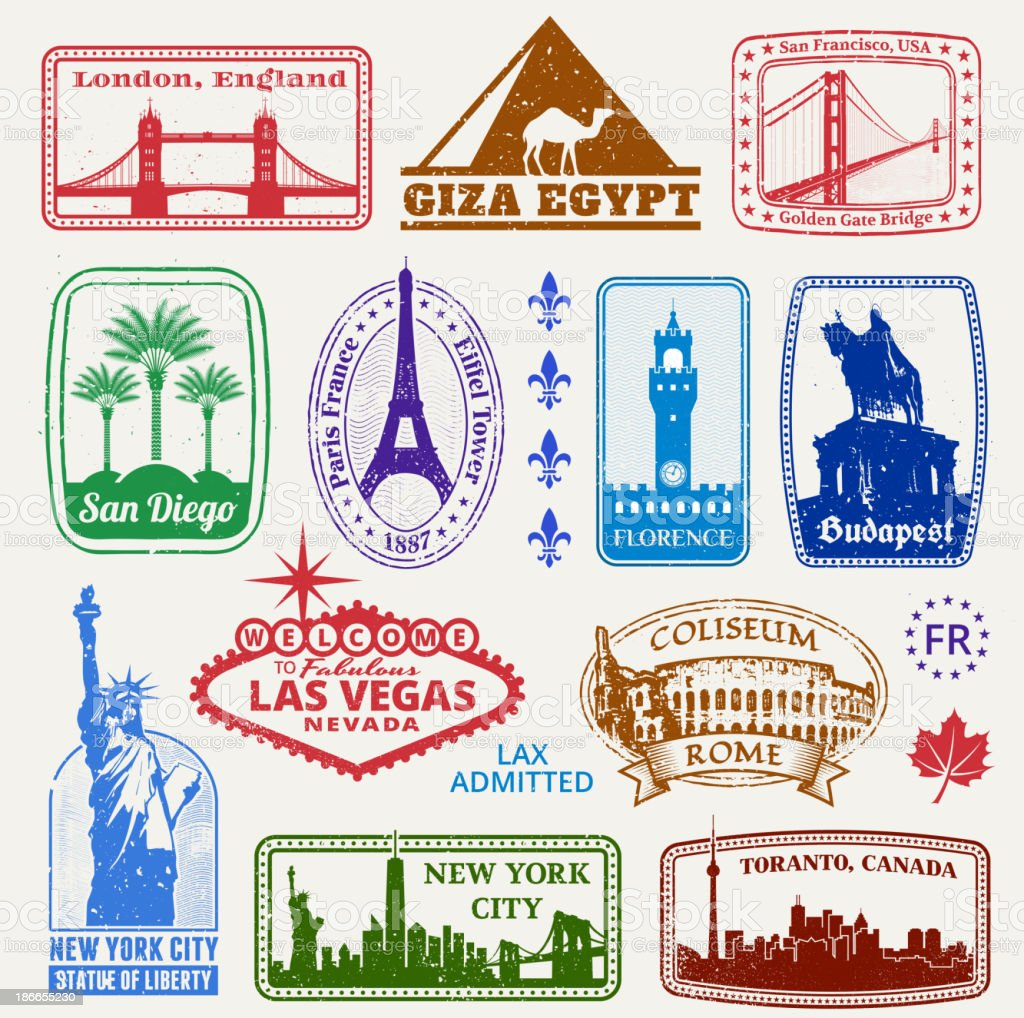 American and International Famous Travel Destinations Set vector art illustration
