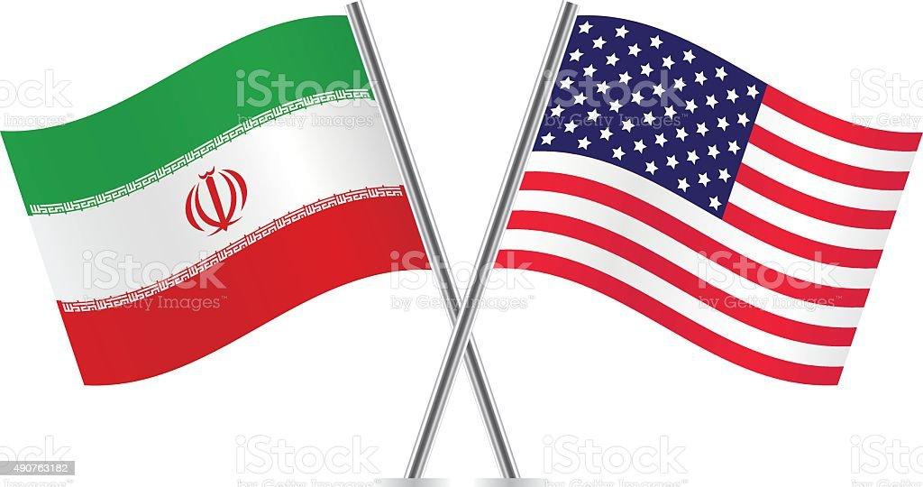 Bandeiras americanas e iraniano. Vetor. - ilustração de arte em vetor