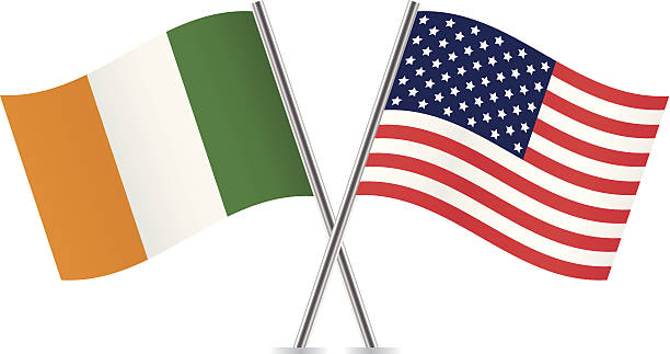 American and Irish flags. Vector. vector art illustration
