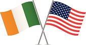 American and Irish flags. Vector.