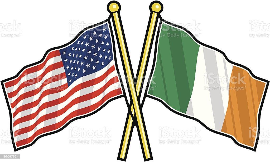 Estadounidense y amistad bandera irlandesa - ilustración de arte vectorial