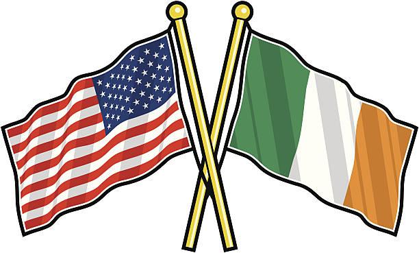 ilustraciones, imágenes clip art, dibujos animados e iconos de stock de estadounidense y amistad bandera irlandesa - bandera irlandesa