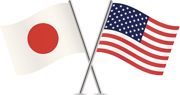 American and Japanese flags. Vector. vector art illustration
