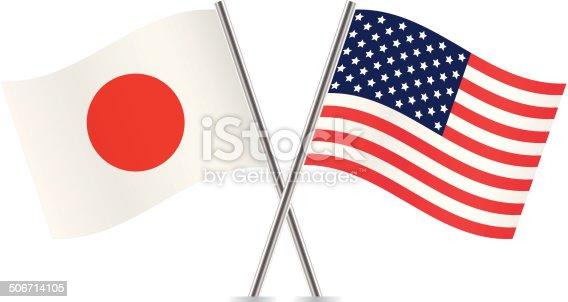 American and japanese flags vector stock vector art more - Foto della bandiera del giappone ...
