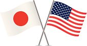 American and Japanese flags. Vector.