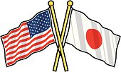 American and Japanese Friendship flag