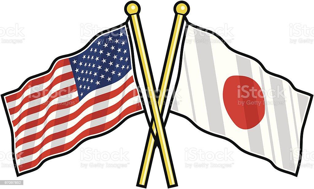 Amistad bandera Estadounidense y Japonesa - ilustración de arte vectorial