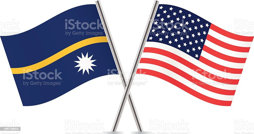 American and Nauru flags. Vector. vector art illustration
